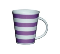 Kitchen Craft Fine Porcelain Purple Stripe Mug