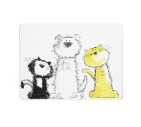 KitchenCraft Cat & Dog Cork Back Laminated Set of 4 Placemats