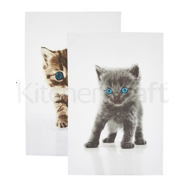 Kitchen Craft Set of 2 Kitten Tea Towels
