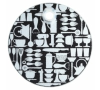 Kitchen Craft Toughened Glass Round Worktop Protector - Utensils