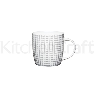 KitchenCraft Fine Bone China Grey Flower Barrel Mug