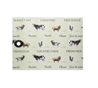 KitchenCraft Toughened Glass Rectangular Worktop Protector - Farmyard
