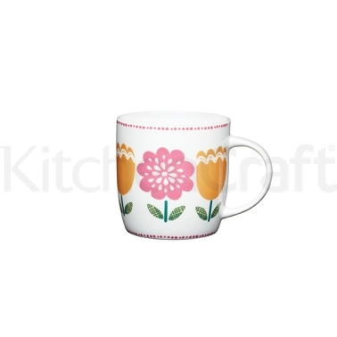 KitchenCraft Folky Floral Fine Bone China Tulip Barrel Mug