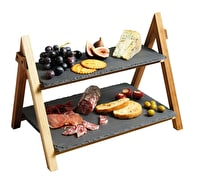 Artesà 2 Tier Slate & Wood Serving Stand