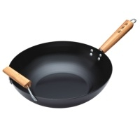 KitchenCraft Oriental Carbon Steel 35cm Non-Stick Wok