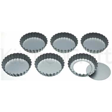 KitchenCraft Set of Six 10cm Loose Base Tart Tins