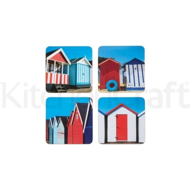 KitchenCraft Beach Hut Cork Back Laminated Set of 4 Coasters