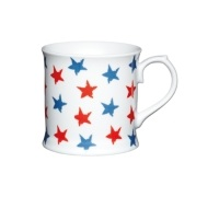 Kitchen Craft Fine Porcelain Red and Blue Stars Mug