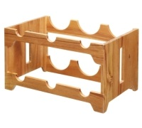 Natural Elements Acacia Wood Six Bottle Wine Rack