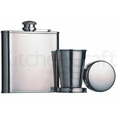 Bar Craft Stainless Steel Hip Flask and Collapsible Shot Cup