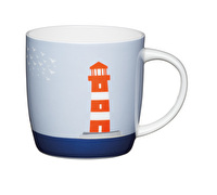 KitchenCraft Set of Four Bone China Lighthouse Barrel Mugs