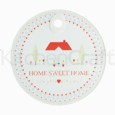 Kitchen Craft Toughened Glass Round Worktop Protector - Home Sweet Home