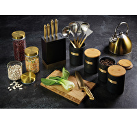 MasterClass Stoneware and Brass Effect Kitchen Utensil Holder