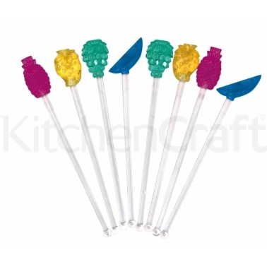 BarCraft Pack of 8 Novelty Fruit Cocktail Stirrers