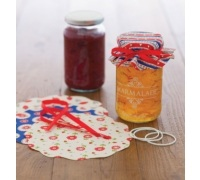 Home Made Pack of 8 Heart Patterned Fabric Jam Cover Kits