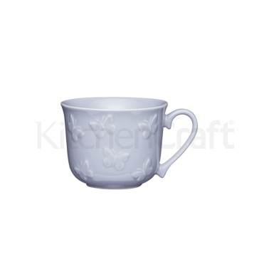 KitchenCraft Stoneware Embossed Flutterbies Breakfast Cup