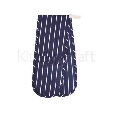 KitchenCraft Blue Butcher's Stripe Double Oven Glove