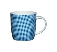 Kitchen Craft Fine Bone China Blue Gingham Barrel Mug