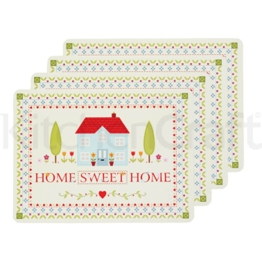 Kitchen Craft Home Sweet Home Cork Back Laminated Set of 4 Placemats