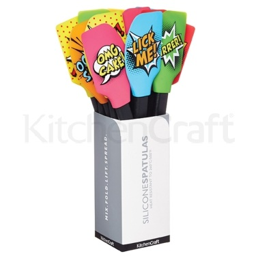 KitchenCraft Comic Strip Display of 12 Silicone Spatulas