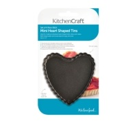 Kitchen Craft Pack of 4 Non-Stick Mini Fluted Heart Shaped Bake Pans