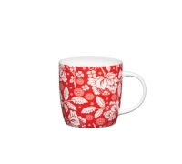 KitchenCraft Fine Bone China Red Flower Barrel Mug