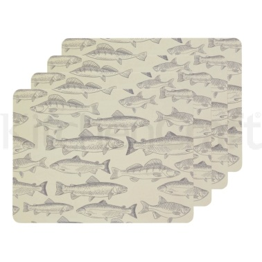 Kitchen Craft Fish Cork Back Laminated Set of 4 Placemats
