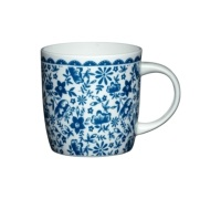 KitchenCraft Fine Bone China Blue Floral Barrel Mug
