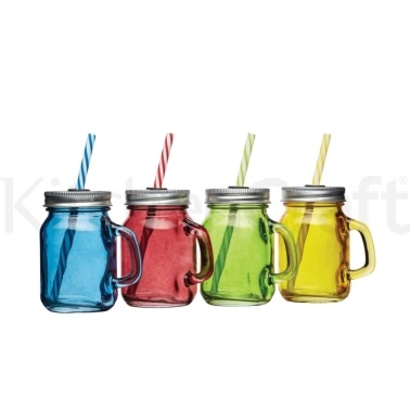 Bar Craft Set of 4 Mini Glass Drinks Jars with Straws