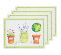 Kitchen Craft Herb Pot Cork Back Laminated Set of 4 Placemats
