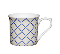 KitchenCraft Set of Four Fluted Fine Bone China Blue Crosshatch Mugs