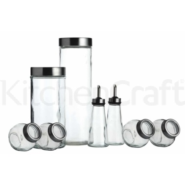 World of Flavours Italian 8 Piece Glass Storage Jar Set