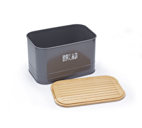 Paul Hollywood 2-in-1 Metal Bread Bin and Wooden Bread Cutting Board