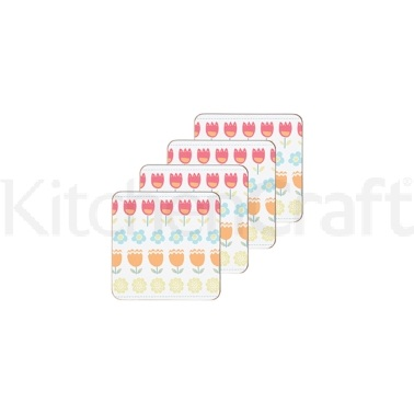 KitchenCraft Folky Floral Cork Back Laminated Set of 4 Coasters