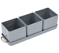 Living Nostalgia French Grey Herb Pots with Tray