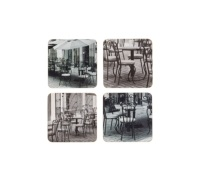 KitchenCraft Café© Cork Back Laminated Set of 4 Coasters