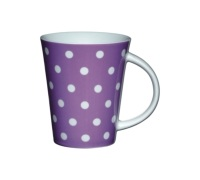 Kitchen Craft Fine Porcelain Purple Polka Mug