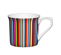 KitchenCraft Set of Four Fluted Fine Bone China Multi Stripe Mugs