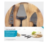 Kitchen Craft Cheese Serving Set With Board and 3 Cheese Servers