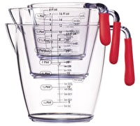 Colourworks 3 Piece Red Acrylic Measuring Jug Set
