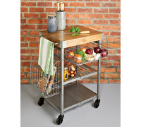 Industrial Kitchen Folding Kitchen Trolley with Mango Wood Butcher's Block