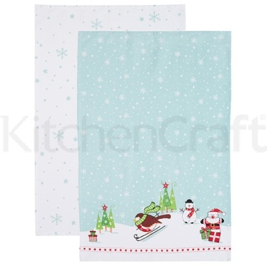 Santa & Friends Set of 2 Cotton Tea Towels