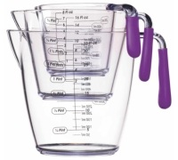 Colourworks 3 Piece Purple Acrylic Measuring Jug Set