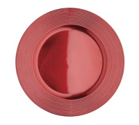Little Red Robin Red Lacquer Ribbed Charger Plate
