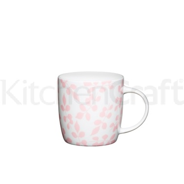 Kitchen Craft Fine Bone China Pink Leaf Barrel Mug