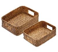 Artesà Set of 2 Natural Bamboo Rattan Serving Baskets
