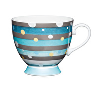 KitchenCraft Set of Four Bone China Spot Stripe Mugs
