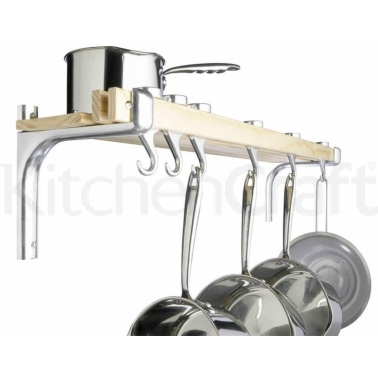 MasterClass Shelf Style Wooden Pot Rack