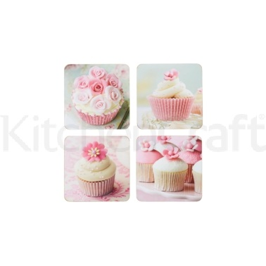 KitchenCraft Cupcake Cork Back Laminated Set of 4 Coasters