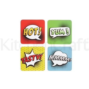 Kitchen Craft Comic Strip Cork Back Laminated Set of 4 Coasters